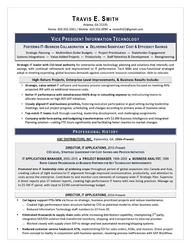 VP IT Sample Resume Executive Resume Writing Services