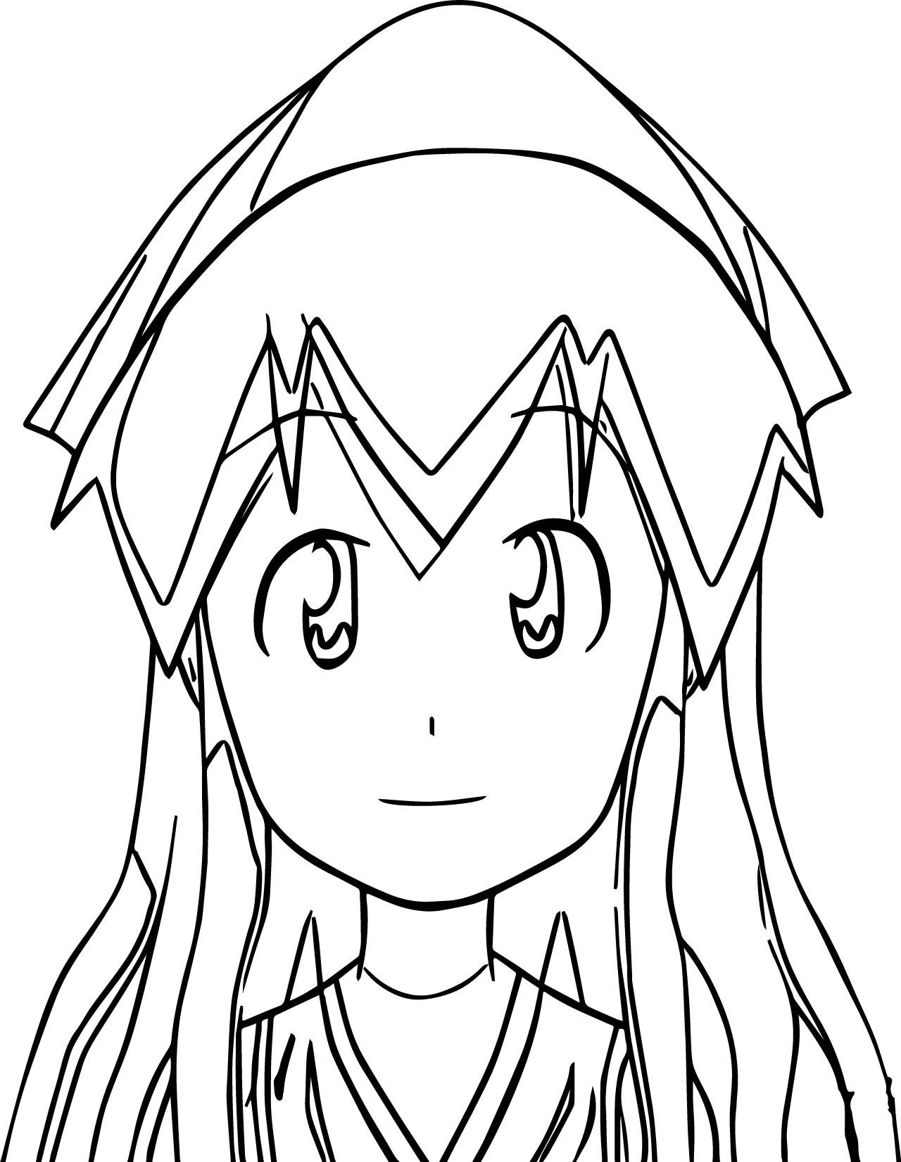 Cool Squid Girl Coloring Page