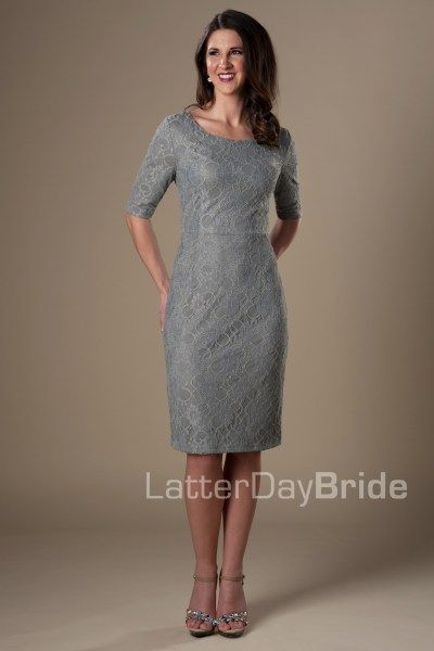 e267c90c4840 MDS1611 | Affordable Modest Bridesmaid Dress | Available in Blush, Gray  (Pictured), Burgundy, Navy, Rose, Coral, and Ivory. Available in store at  Gateway ...