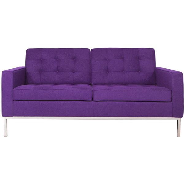 Somette Lorane Modern Purple Wool Fabric Studio Sofa (€885) ❤ liked on Polyvore featuring home, furniture, sofas, couch, interior, upholstered furniture, purple couch, mod sofa, purple furniture e colored furniture