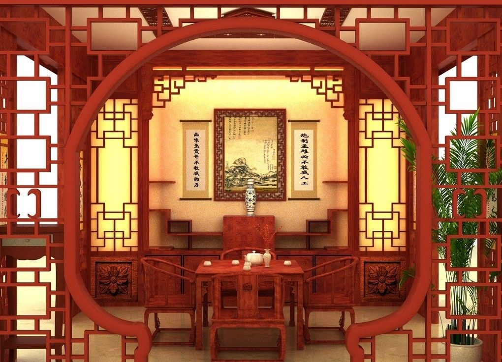 Chinese style arch of dining room download 3d house a for Asian architecture house design