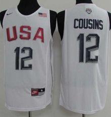 Nike Team USA  12 DeMarcus Cousins White 2016 Dream Team Stitched NBA Jersey 2a9b01863
