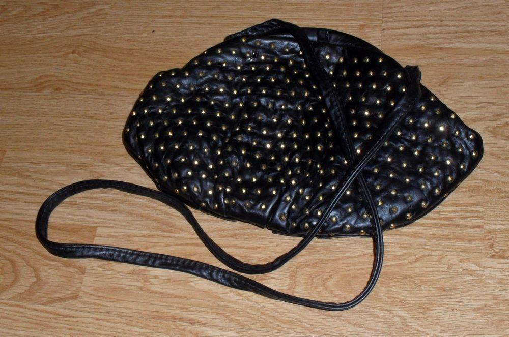 Paul Joseph Handbag Black Leather Soft  Studded  Shoulder Bag  #PaulJosephHandbags #Vintage