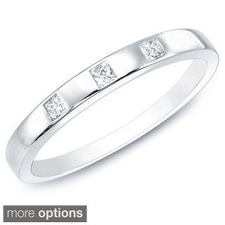10k White Or Yellow Gold Princess Diamond Wedding Band