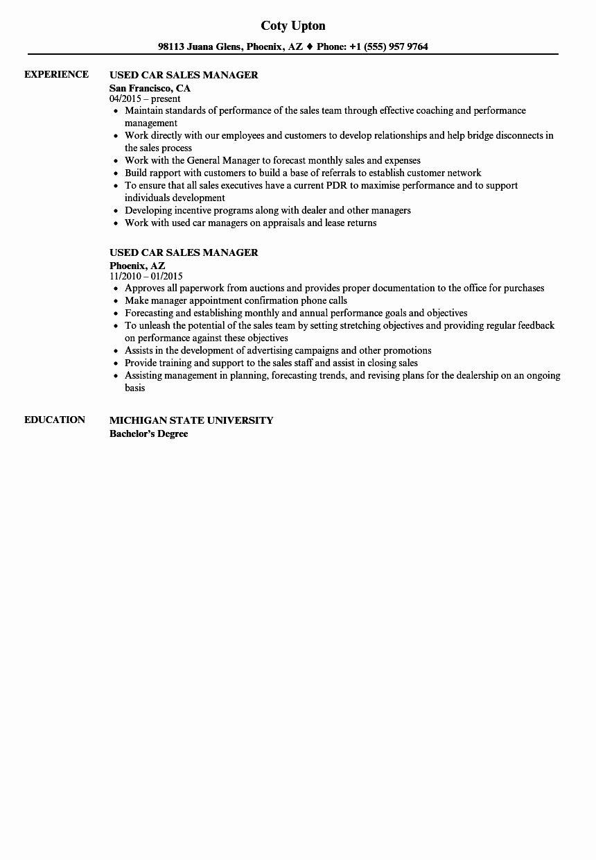 car salesman resume sample