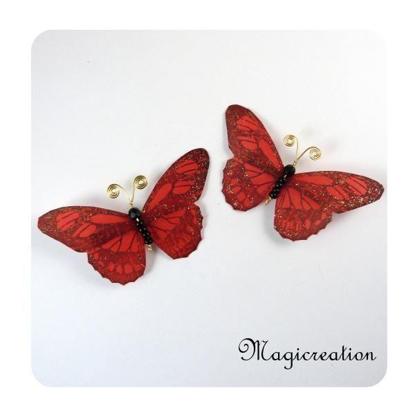 Pinces Rideaux Papillons Rouge Ref 1511 Boutique Www Magicreation Fr Pince Rideau Papillon Rouge Rideaux