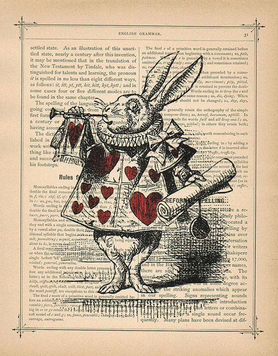 white rabbit alice in wonderland vintage art print book on