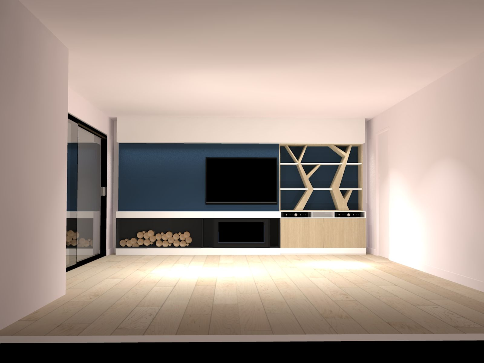 3D Design Démesure Biblioth¨que meuble TV arbre Mur bleu pétrole