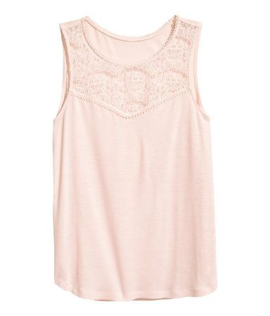 dbba071bf6d14 H M Sleeveless Top with Lace  10    Sleeveless top in soft jersey with a lace  yoke at front. Rounded hem.