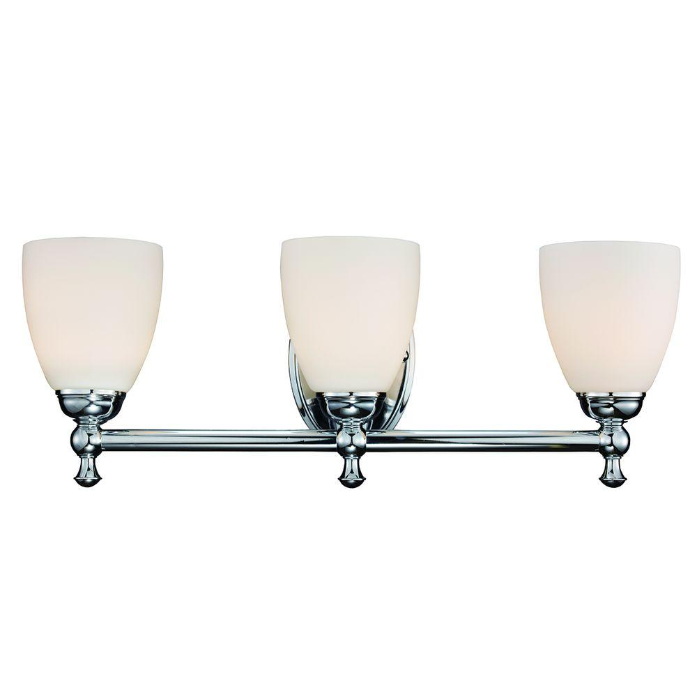 Hampton Bay 3 Light Polished Chrome Vanity Light Home The O