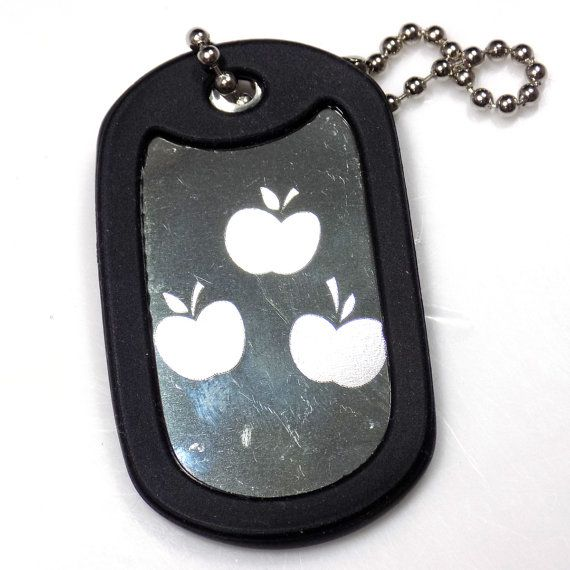 """MLP Applejack New Chain 4"""" Chain Dog Tag Stainless Steel / Rubber Edge EDG-0242"""