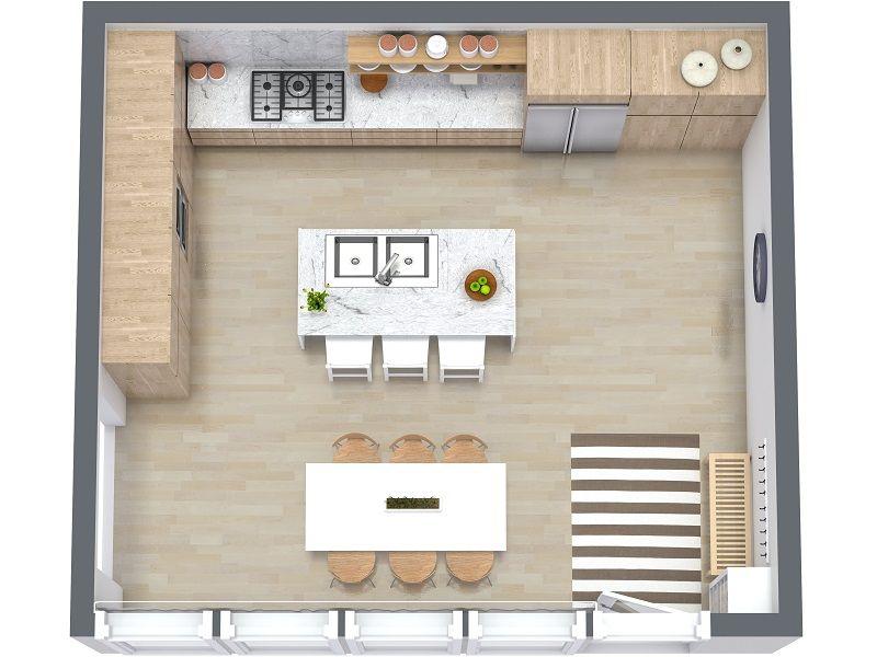 Kitchen Layout Ideas - RoomSketcher 3D Floor Plan of Kitchen Layout