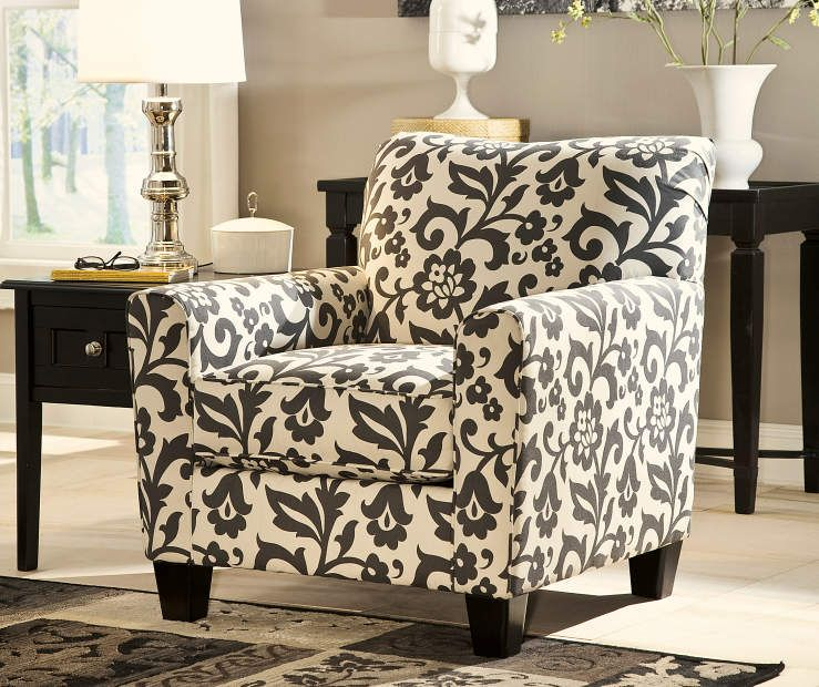 Gusti Dusk Living Room Set Signature Design: Simmons Flannel Levon Charcoal Accent Chair