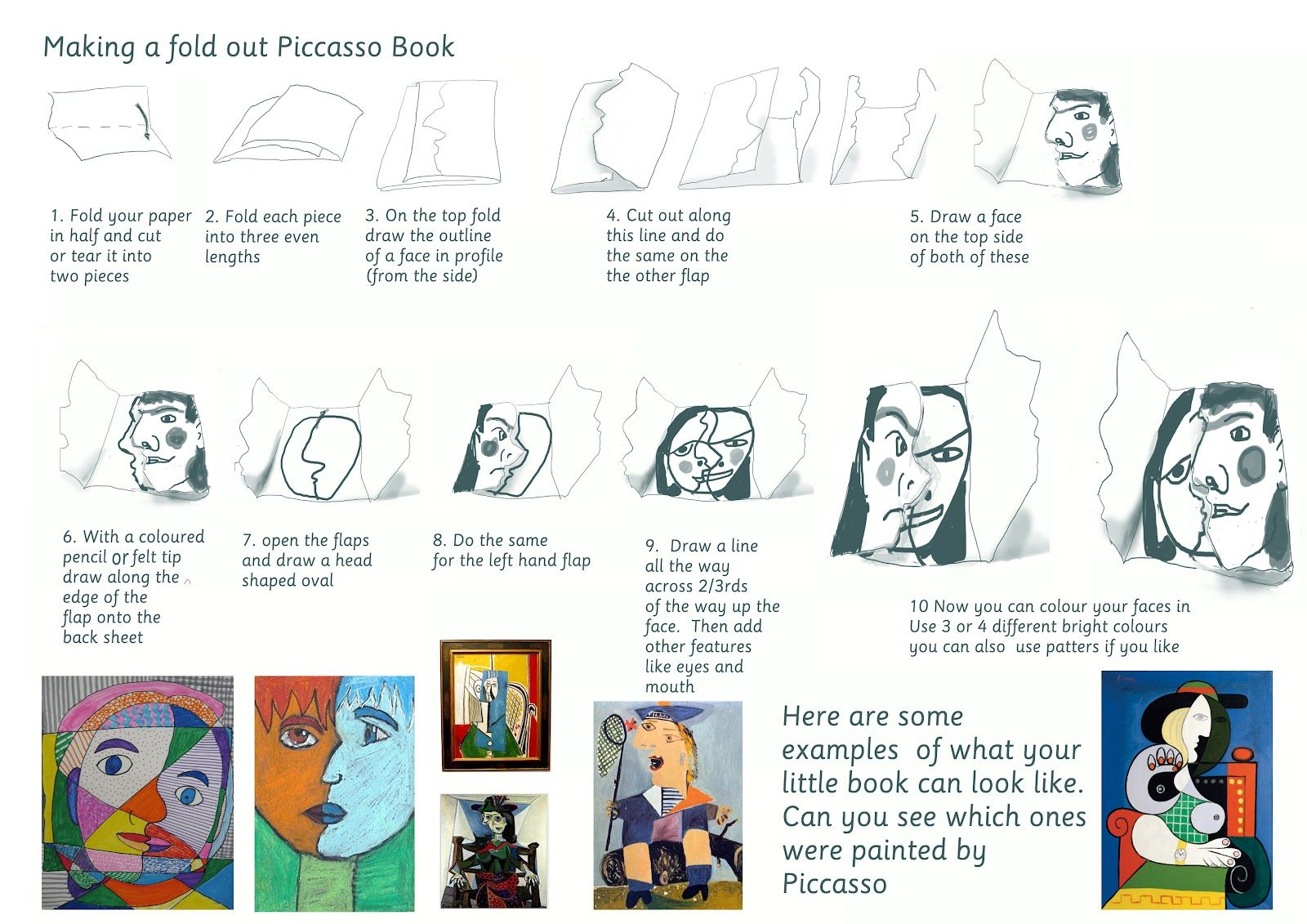 double fold picasso book for older students | Artists we are