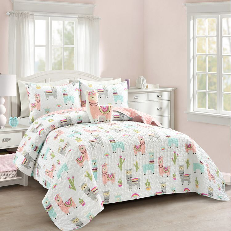 Lush Decor Make A Wish Southwest Llama Cactus Quilt White/Blush 4pc Set Full/Queen - Lush Decor - 16T005251