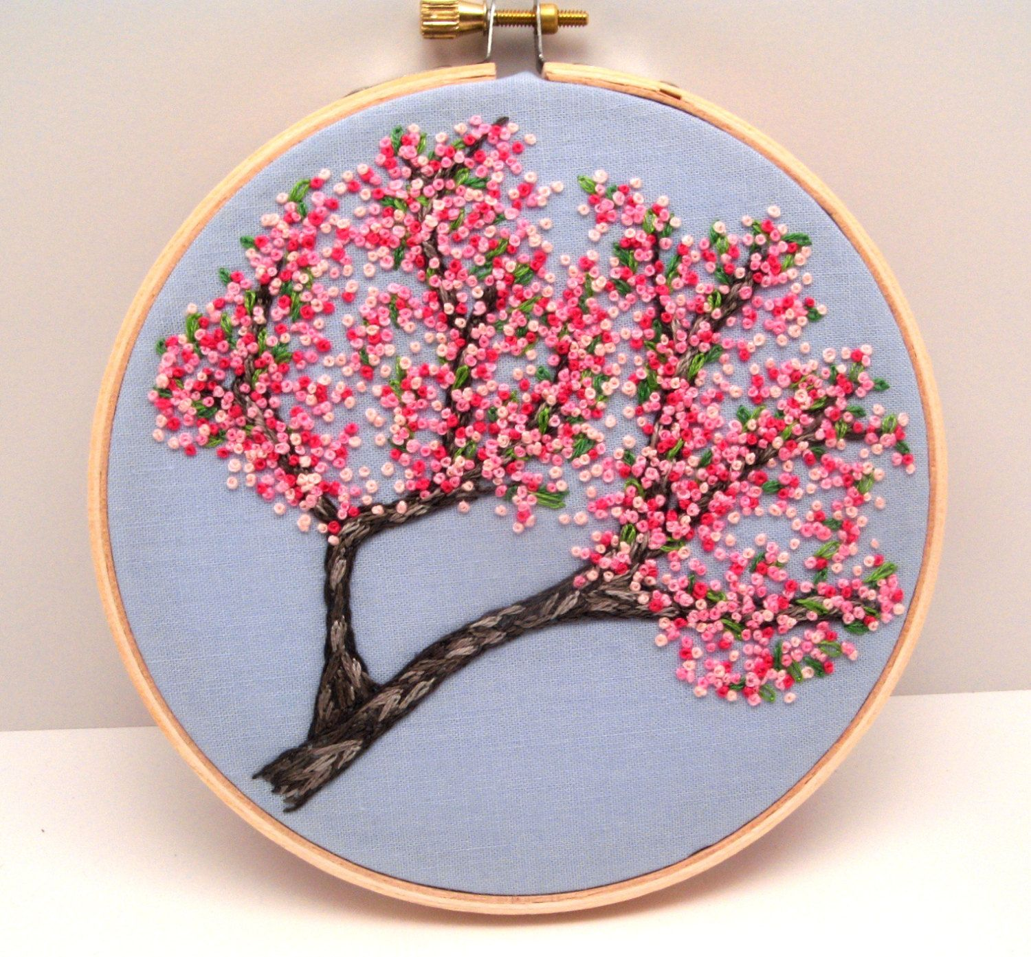 Cherry Blossoms Hand Embroidery Tutorial, Pattern Pdf Digital, Pink Spring  Flowers French Knot