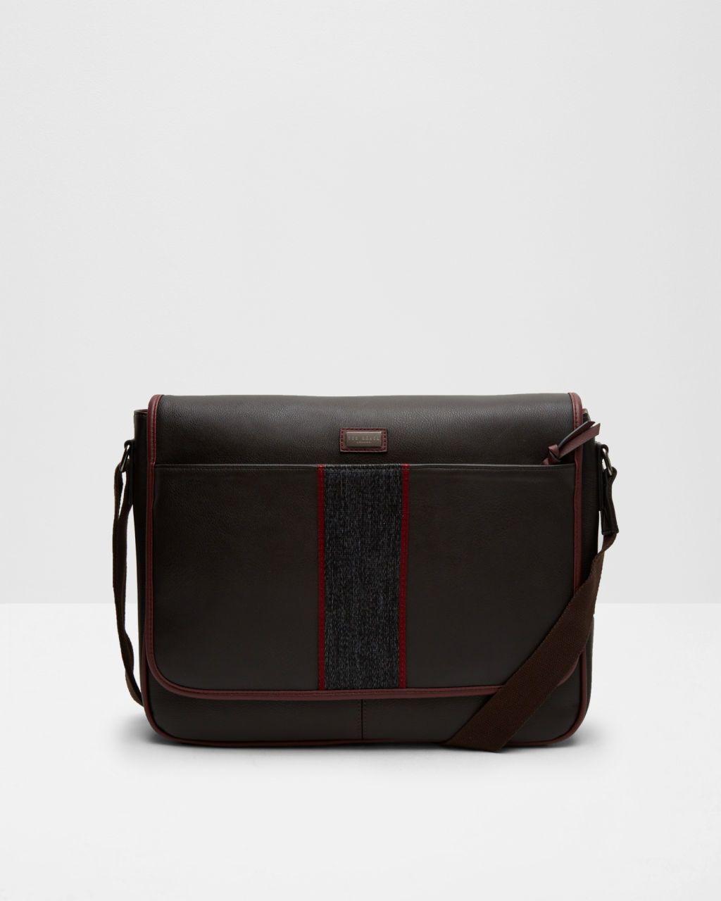 e13fb3dc5141 Webbed striped messenger bag - Chocolate | Bags | Ted Baker ROW ...
