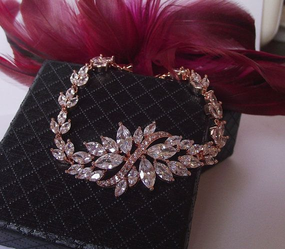 rose gold bracelet wedding bracelet by nefertitijewelry2009