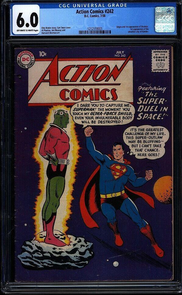 Action Comics 242 CGC 6.0 OWW Silver Age Key DC Comic 1st App Brainiac IGKC L@@K