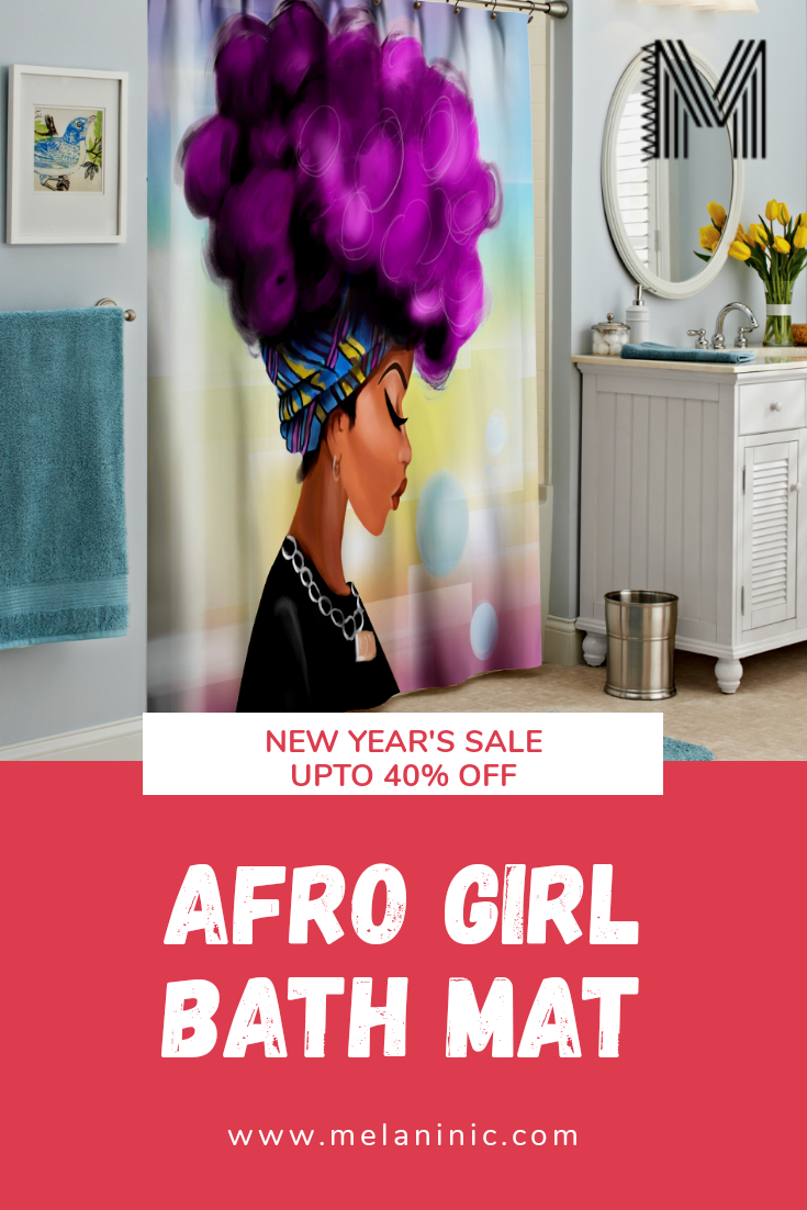 Afro Girl Shower Curtain In 2020 Girls Shower Curtain Afro