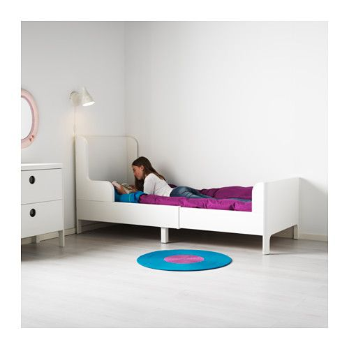 Busunge Extendable Bed White 38 1 4x74 3 4 Ikea Ikea Toddler Bed Storage Kids Room White Bedding