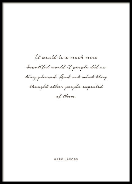 Citaten Cursief : Poster with a quote by marc jacobs well known designer