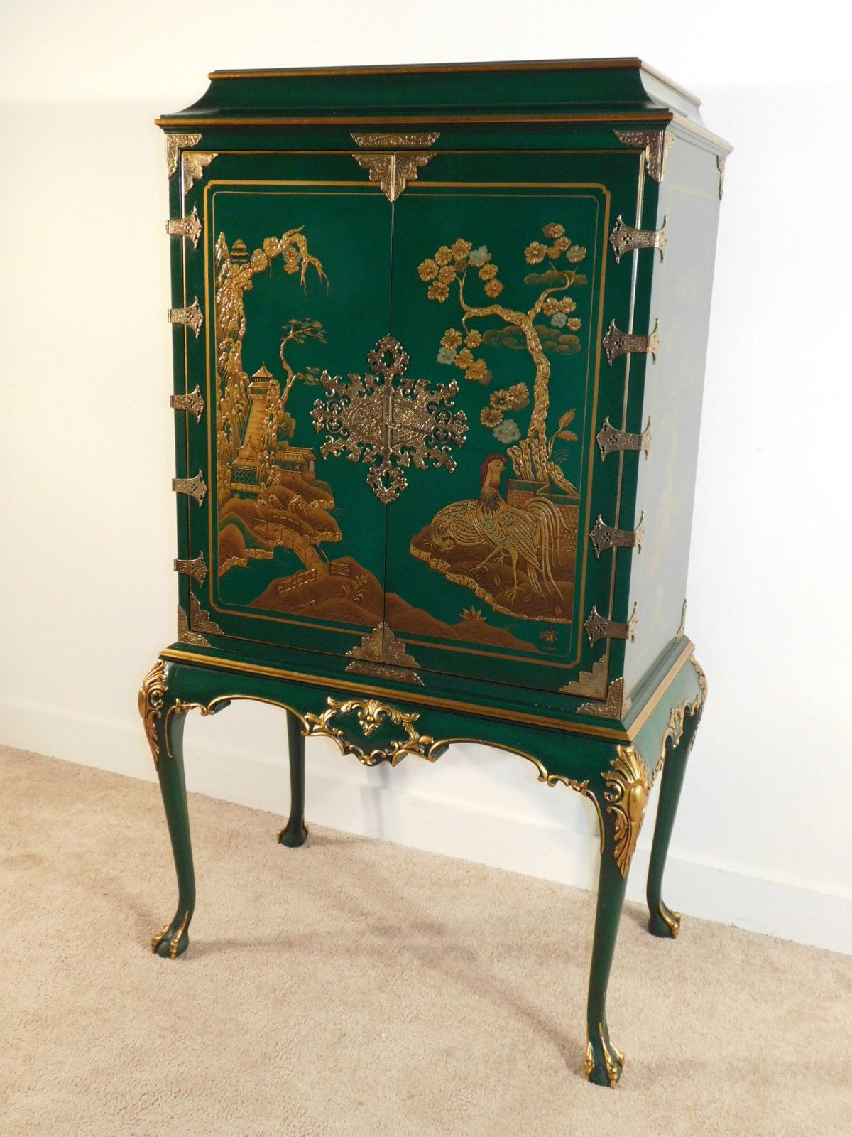 karges green lacquer chinoiserie hand decorated chest on stand ebay