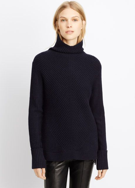 Wool Cashmere Directional Rib Turtleneck Sweater | Vince ...