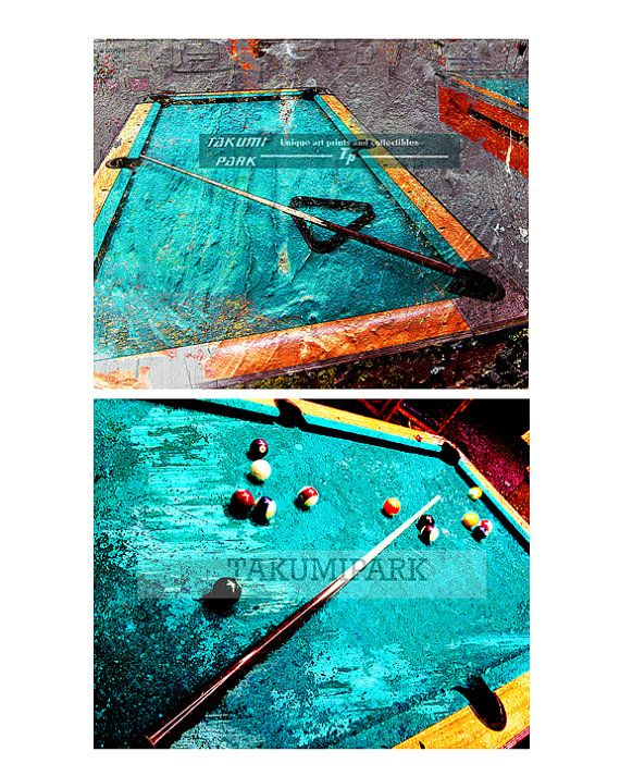 Billiards Art Set Pool Table Wall Art Set Gift Idea By TakumiPark