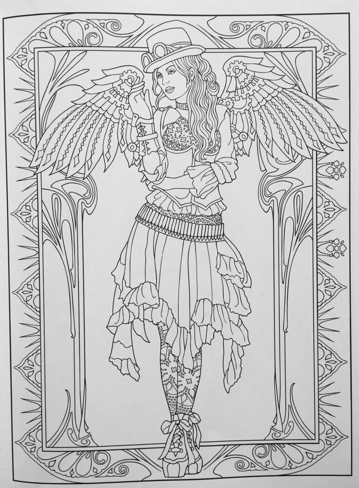 736x1001 Pix Steampunk Coloring Fairy Coloring Pages Coloring Books