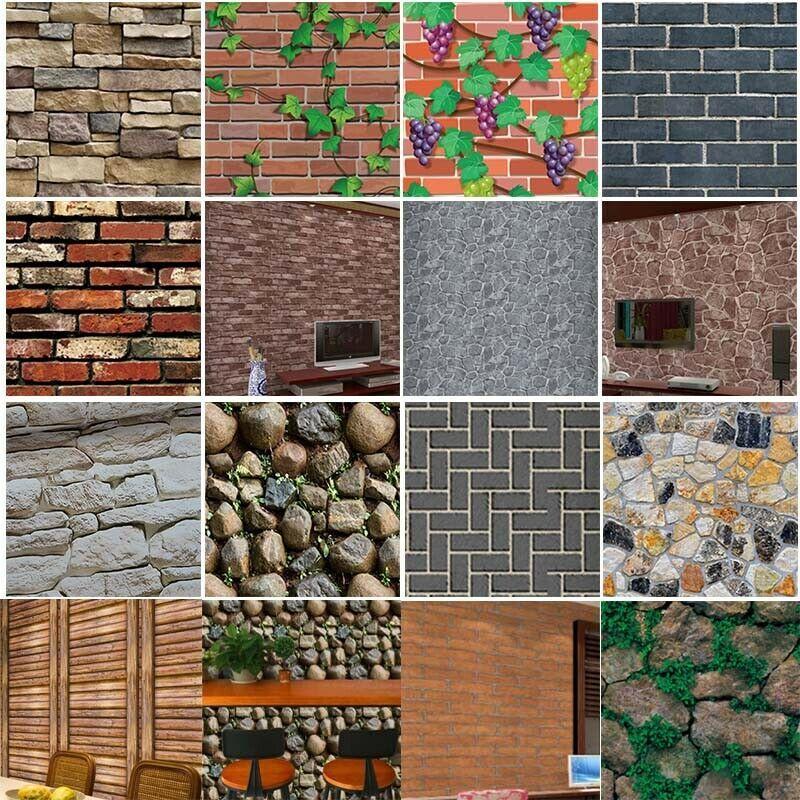 3d Wall Paper Brick Stone Rustic Effect Self Adhesive Wall Sticker Home Decor Wallpaper Ideas Of Wal Foam Panels Wall Stickers Brick Wall Stickers Bedroom