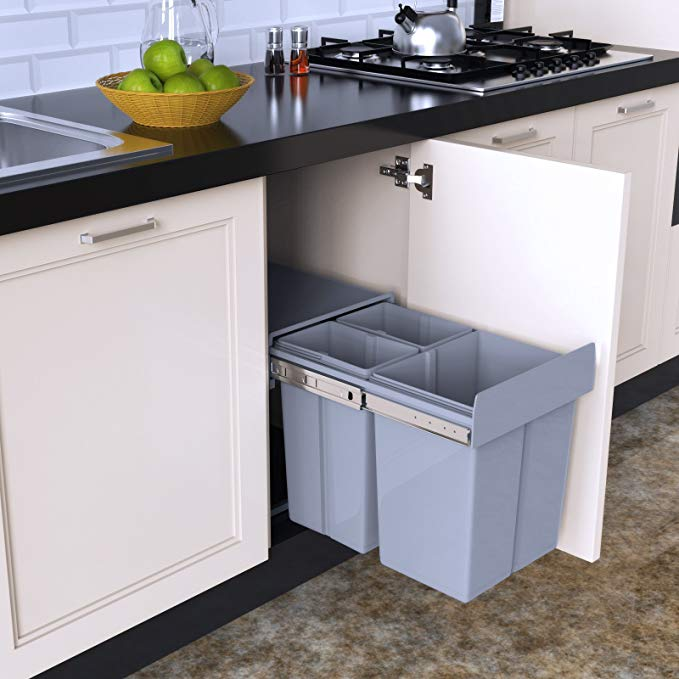1home Recycle Pull Out Kitchen Cupboard Waste Dust Bin 40 Litre Amazon Co Uk Amazon Co Uk Recycled Kitchen Kitchen Cupboards Under Kitchen Sinks