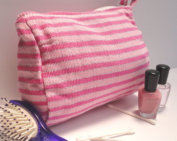 Handwoven Pouch Cosmetic Makeup Handwoven Fabric by TheFairLine, $18.00