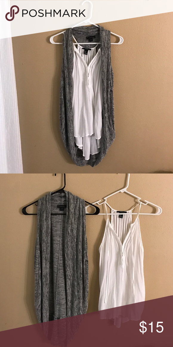 Forever 21 Grey Vest and Loose Tank Blouse Grey Vest in size small Loose tank in size medium Forever 21 Tops Blouses