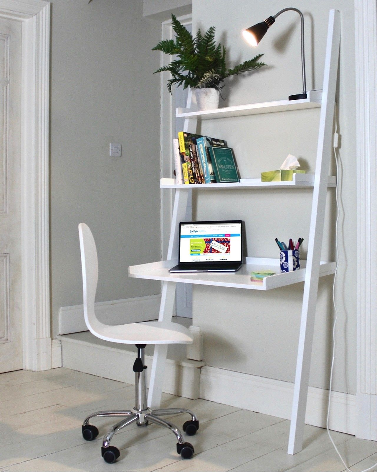 A Stylish Piece For Any Office This White Wooden Leaning Ladder