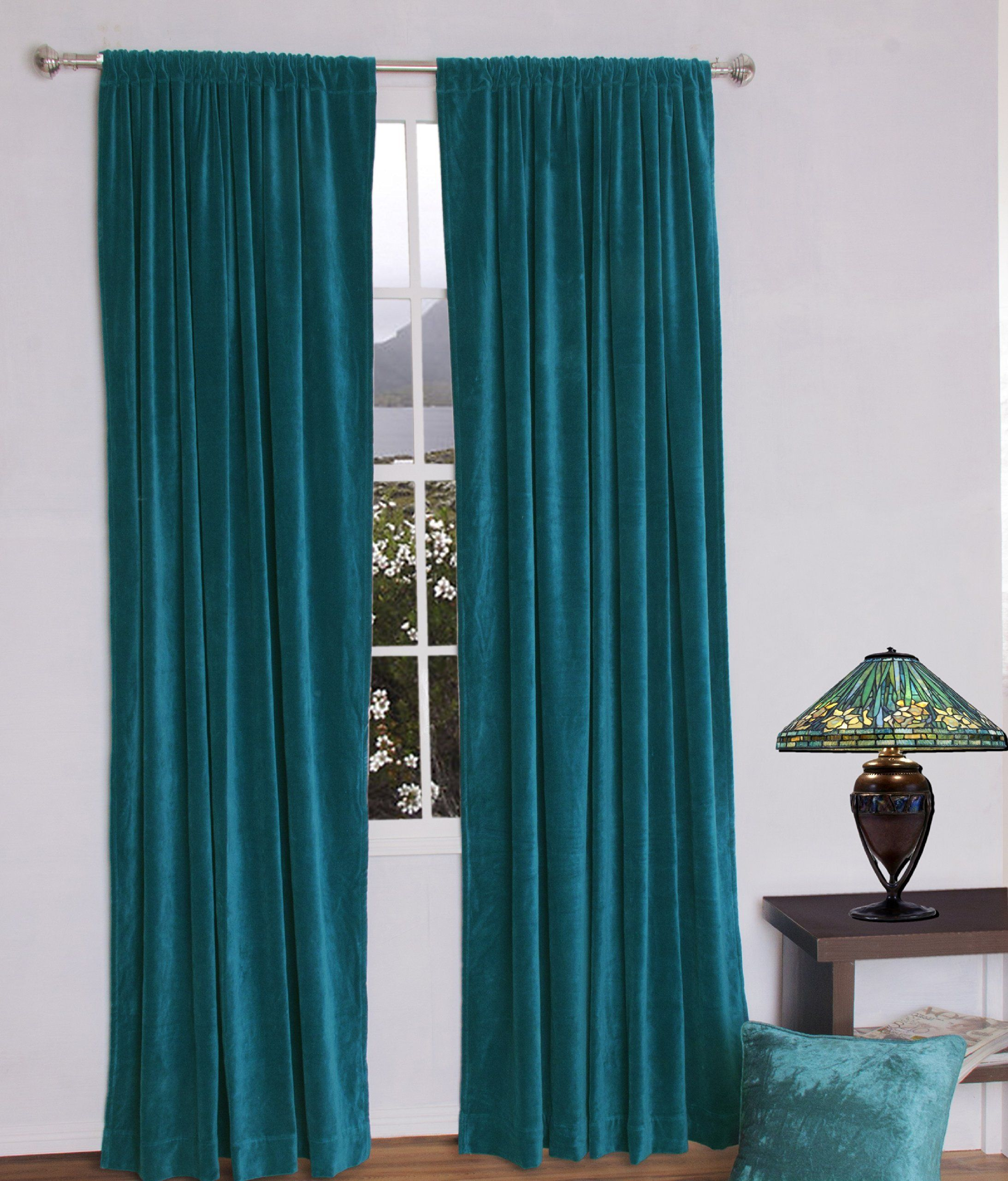 Jovi Home Velvet Window Curtain 52 by 96 Inch Teal