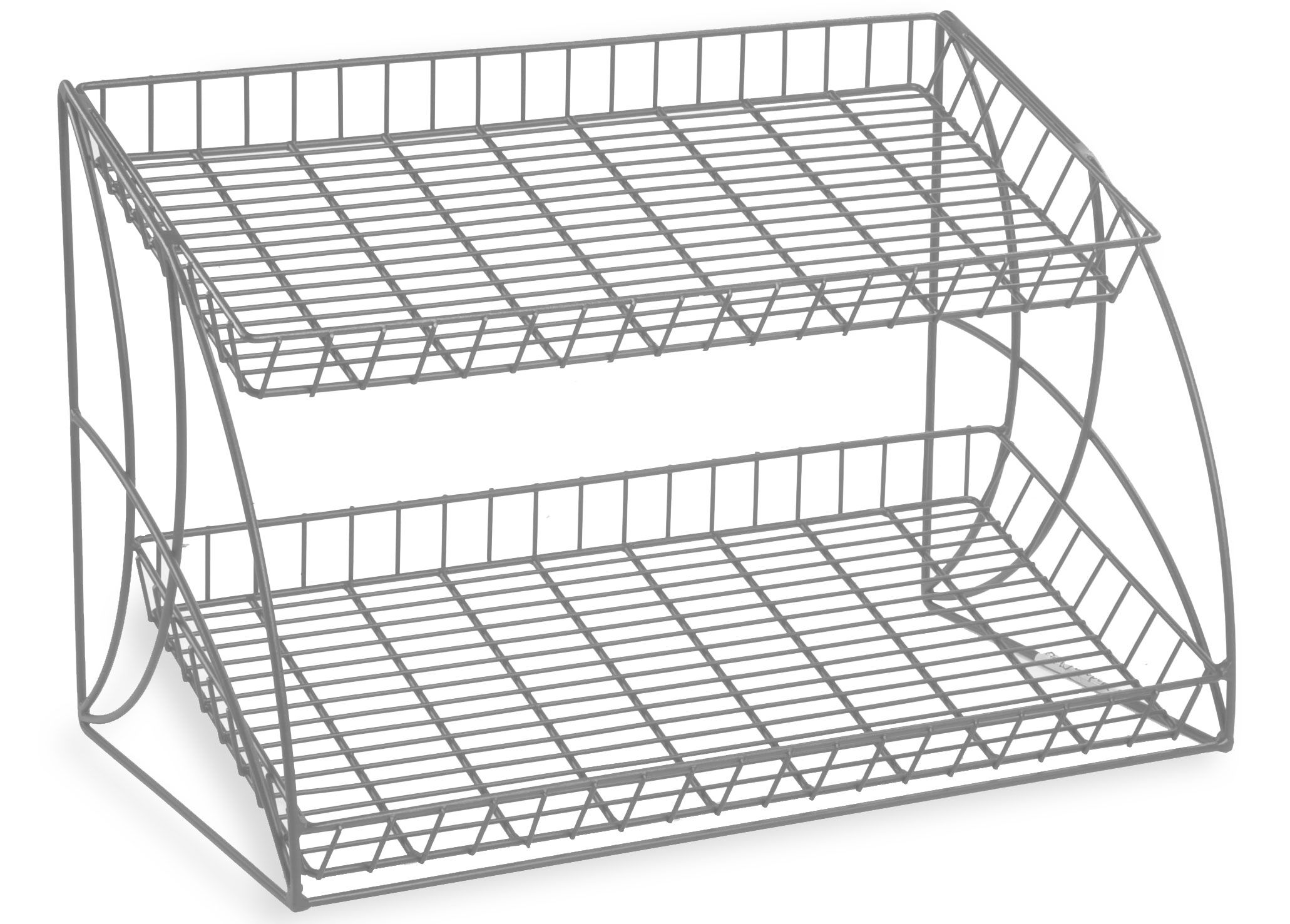 2 Tiered Wire Rack Display Tabletop 25 W Open Shelves Silver