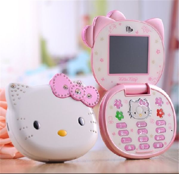 5f3771a07 Cute Hello Kitty K688 Quad Band Single Cameras Mobile Phone Unlocked Kids  Children Cell Phone Flip