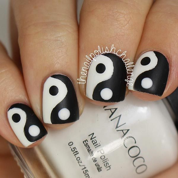 101 classy nail art designs for short nails yin yang designs 101 classy nail art designs for short nails prinsesfo Image collections
