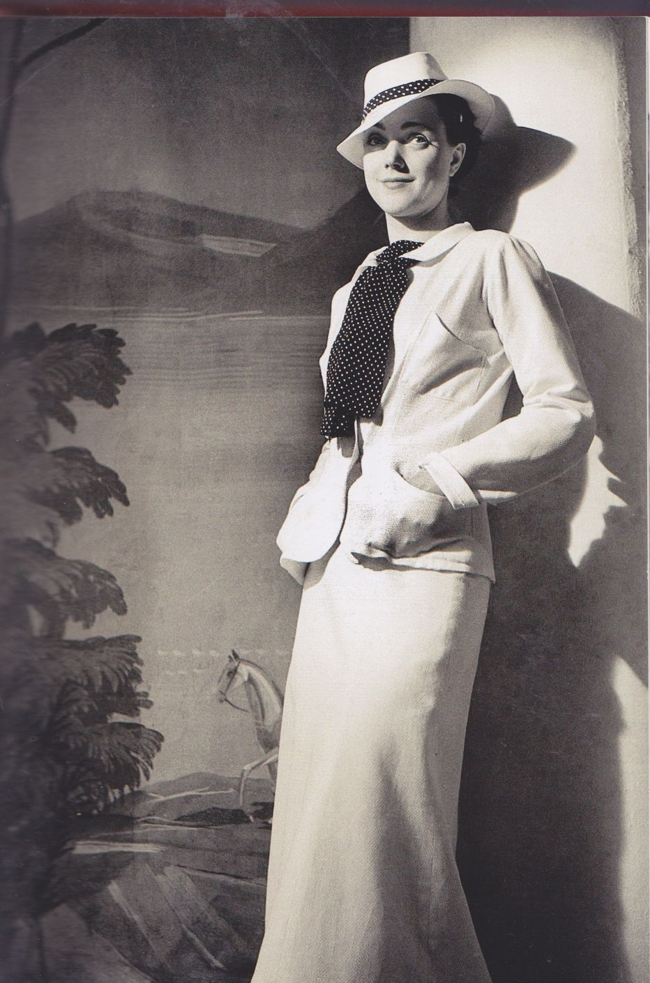 chanel suit 1938 jacket skirt white bow scarf