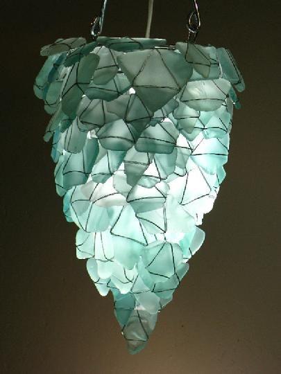 Chandelier or pendant light from aqua sea glass let there be light chandelier or pendant light from aqua sea glass aloadofball Image collections