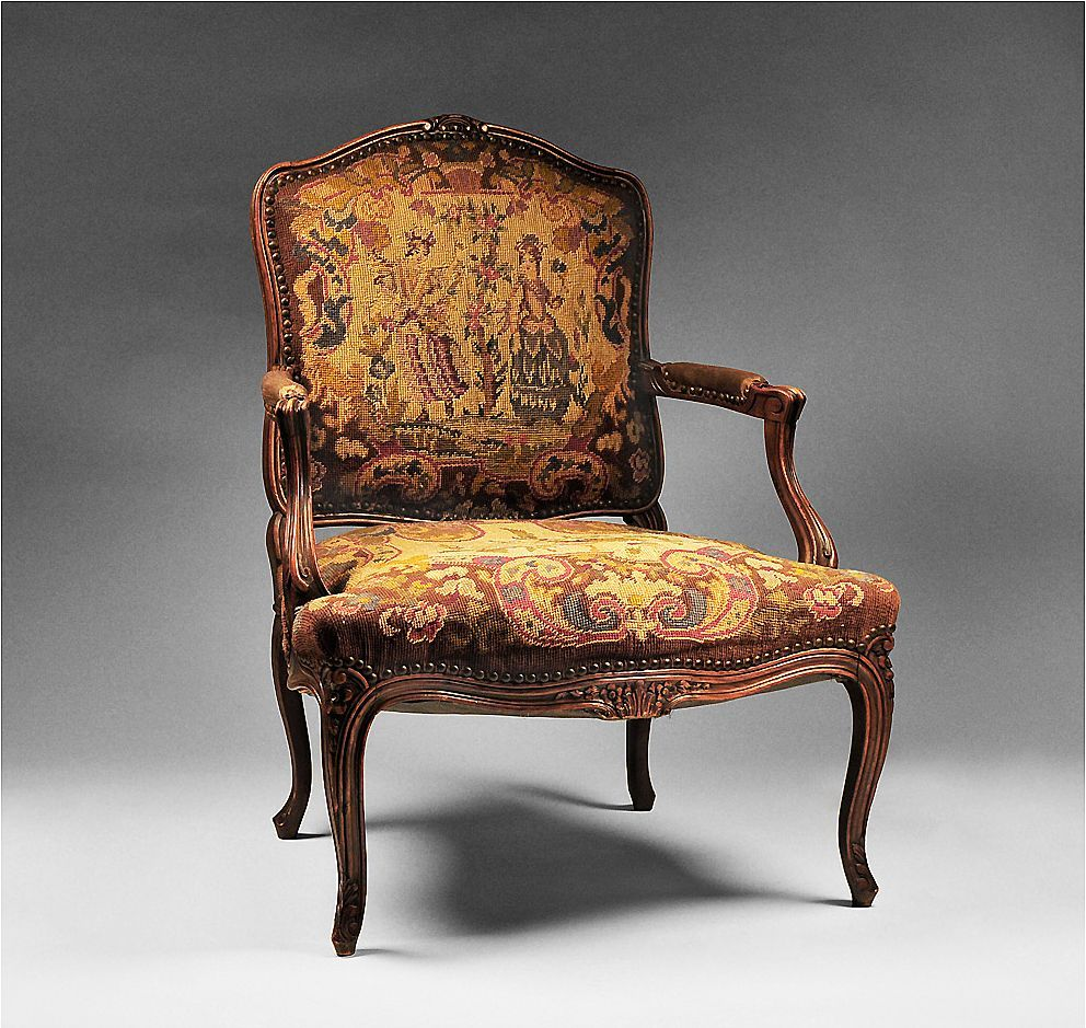 Great 19th C. Louis XV Needlepoint Fauteuil Or Armchair