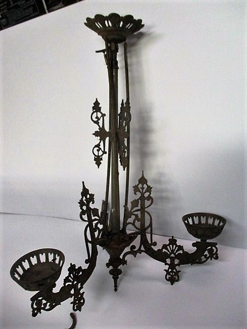Antique Victorian Oil Lamp Chandelier Cast Iron with 3 ...
