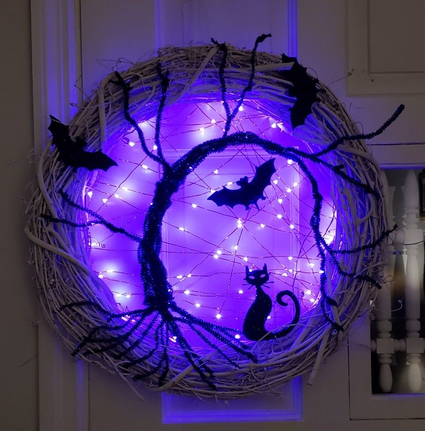 Spooky Tree Halloween Wreath With Lights Meow In