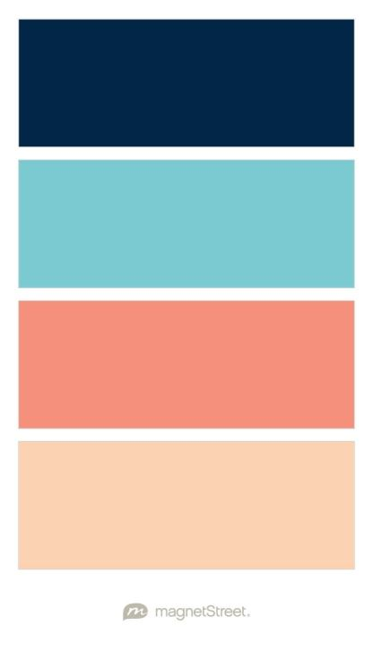 Navy Turquoise Coral And Peach Wedding Color Palette