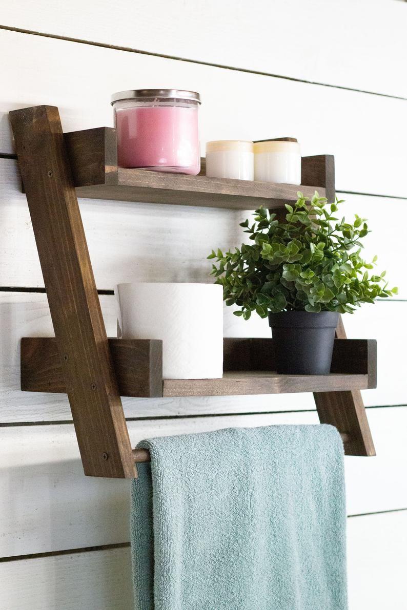 Floating Ladder Shelf With Towel Bar Etsy In 2021 Ladder Shelf Towel Bar Shelves