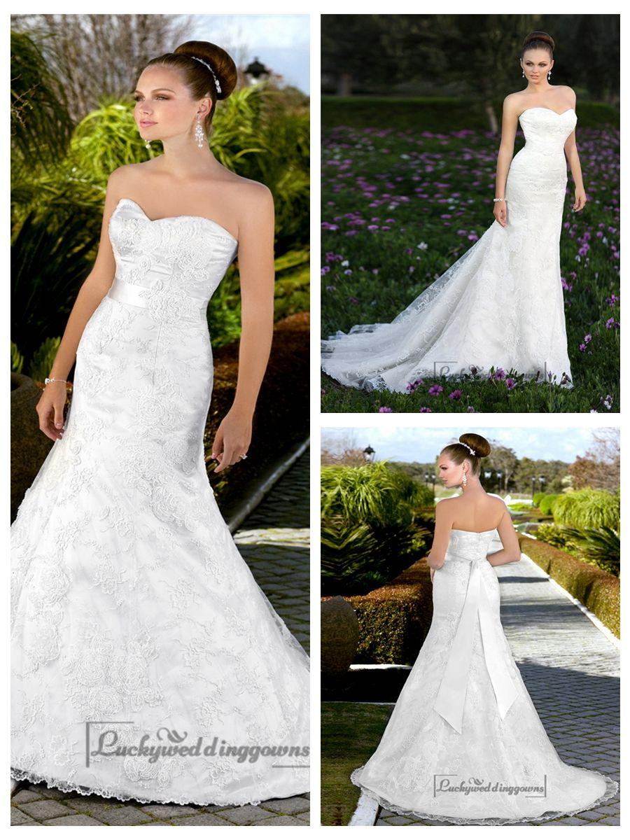 TRUMPET MERMAID SWEETHEART VINTAGE LACE WEDDING DRESSES