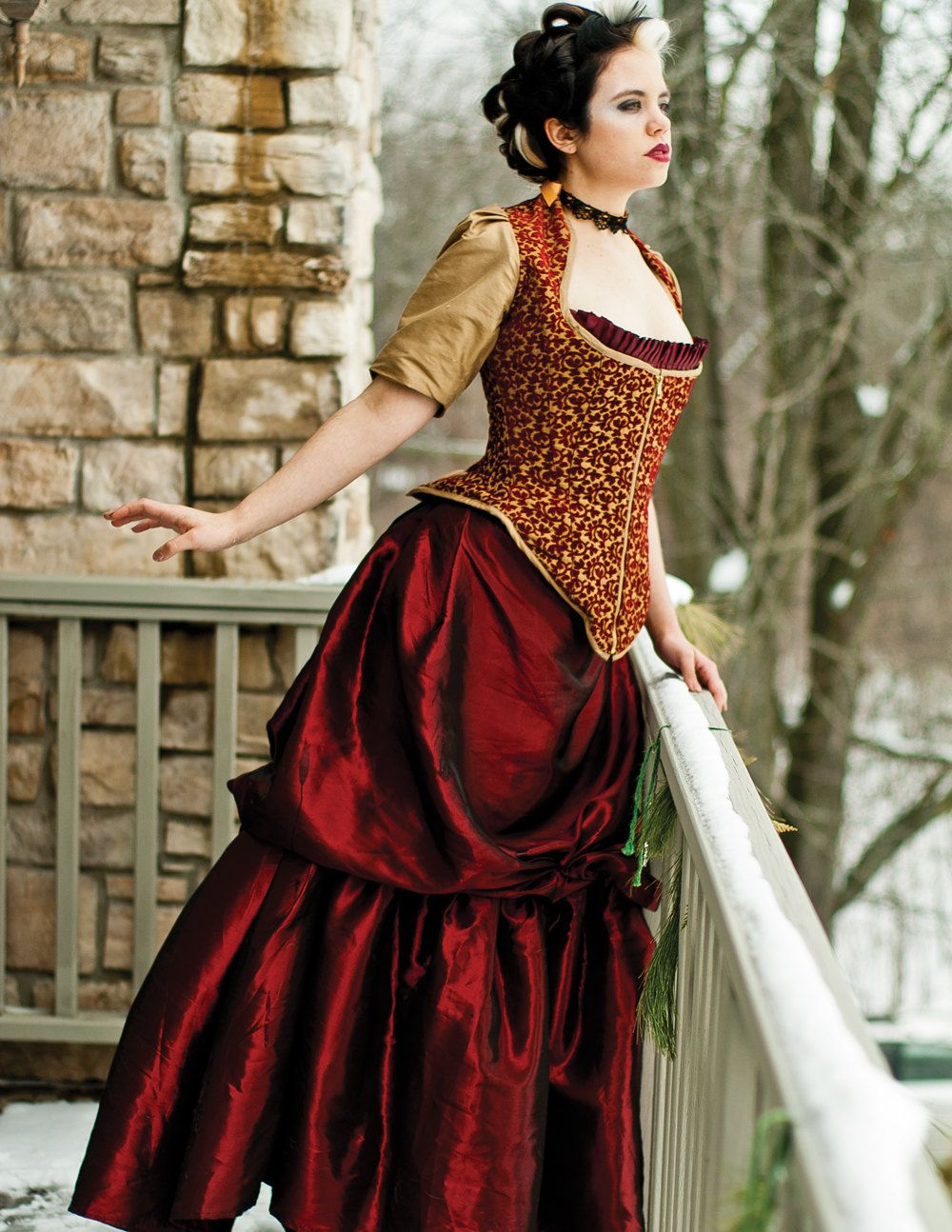 Steampunk Bustle Wedding Gown Red and Gold Corset by