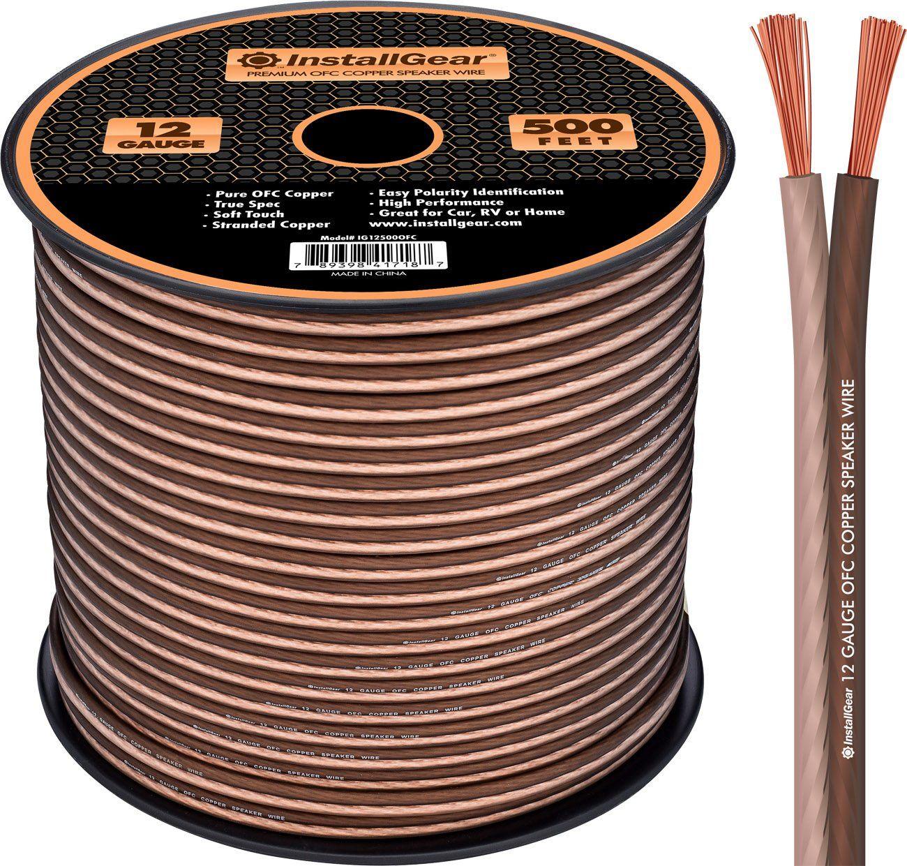 InstallGear 12 Gauge Speaker Wire - 99.9% Oxygen-Free Copper - True ...