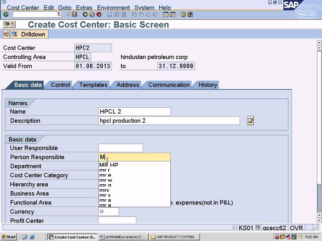 SAP Product Costing Configuration T code - KS01 and T Code ...